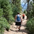 Taking the optional easier loop trail down to the base of the trail.- The Manitou Springs Incline