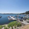 View of the marina at the Arrowhead Lake Association on the lake's eastern shore.- Lake Arrowhead