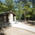 Vault toilets at Dogwood Family Campground.- Dogwood Family Campground