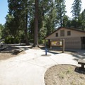 Day use picnic area and restroom/shower facility at Dogwood Family Campground.- Dogwood Family Campground