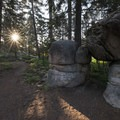 Rock formations between the Champion Lodgepole Pine and Bluff Lake.- Champion Lodgepole Pine + Bluff Lake