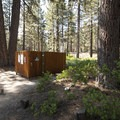 Open-air vault toilet at Boulder Group Camp.- Boulder Group Camp