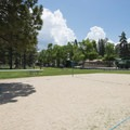 Sand volleyball and basketball courts at Meadow Park.- Meadow Park
