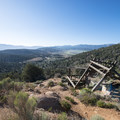 View of the ruins of the new Doble Mine 40 stamp mill, built in 1900.- Doble Mine