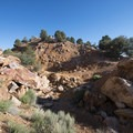 Quarry and tailings at Doble Mine.- Doble Mine