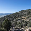 View south of Baldwin Lake and the site of the original Doble Mine 40 stamp mill, built in 1875.- Doble Mine