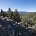 First view of Big Bear Lake and San Bernardino Peak (10,649 ft) on the Cougar Crest Trail.- Cougar Crest Trail
