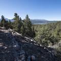 First view of Big Bear Lake and San Bernardino Peak (10,649 ft) on the Cougar Crest Trail.- Bertha Peak Hike