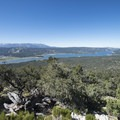 View southwest to Big Bear Lake from the summit of Bertha Peak (8,201 ft).- Bertha Peak Hike