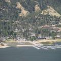 The town of Big Bear Lake from Bertha Peak's summit.- Bertha Peak Hike