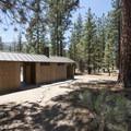 Vault toilet facility at Heart Bar Campground.- Heart Bar Campground