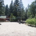 Sand volleyball court at The Lodge At Angelus Oaks.- The Lodge at Angelus Oaks, Secluded Cabins