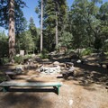 Communal outdoor area at The Lodge At Angelus Oaks.- The Lodge at Angelus Oaks, Secluded Cabins