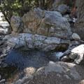 Swimming pool carved out of Falls Creek below Big Falls.- Big Falls