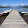Boats for rent at Apgar Village.- Lake McDonald Paddle