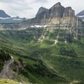 View from the Highline Trail south to Logan Pass.- Highline Trail
