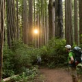 A backpacker pauses to view the sunset from the trail.- Miner's Ridge Trail, Prairie Creek to Gold Bluffs Beach