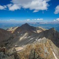 Looking at Wilson Peak (left) and Gladstone Peak (right) from the summit of Mount Wilson.- El Diente to Mount Wilson Traverse