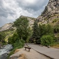 The first view of Bridal Veil Falls from the lower parking area. - Bridal Veil Falls, Utah