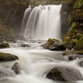 Majestic Falls with a winter high flow.- McDowell Creek Falls County Park