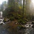 Evening mist of fall at Majestic Falls.- McDowell Creek Falls County Park