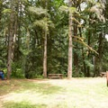 The picnic area near the parking lot of Majestic Falls.- McDowell Creek Falls County Park