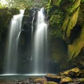 Majestic Falls with low summer flow.- McDowell Creek Falls County Park