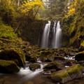 Majestic Falls at low autumn flow.- McDowell Creek Falls County Park