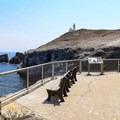 The top of the steps with the Anacapa lighthouse complex in the background.- Anacapa Islands