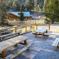 Picnic benches located near the visitor center.- Ancient Bristlecone Pine Forest