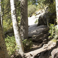 Be careful when traversing the granite slabs on the way to the falls.- Bridal Veil Falls via Cow Creek Trail