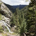 Looking southeast over the Cow Creek watershed to Lumpy Ridge.- Bridal Veil Falls via Cow Creek Trail