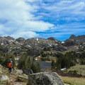 Hiking toward Lake Marion.- Cloud Peak Via West Tensleep Trailhead