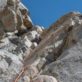 The last pitch on Mount Emerson's Waterfall Route before the chute.- Mount Emerson: South Face Waterfall Route