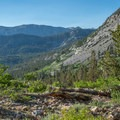 Looking east from the approach trail.- Mount Emerson: South Face Waterfall Route