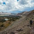 Descending Rocky Sea Pass into Rock Creek Basin.- Gladys Lake