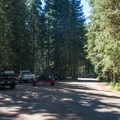 Day use parking for the boat launch at Trapper Creek Campground.- Trapper Creek Campground