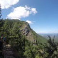 East Peak and a crowded trail on the right.- Rattlesnake Ledge