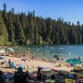 A busy day at White Pine Beach.- White Pine Beach, Sasamat Lake