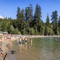 Swimming in Sasamat Lake.- White Pine Beach, Sasamat Lake