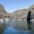 Steep, rocky canyon walls along the Lower Salmon River.- Lower Main Salmon River: Pine Bar to Heller Bar