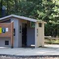 Vault toilet in the parking area.- Goodman Creek Trail