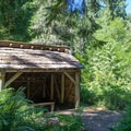 The reconstructed Ash Swale Shelter.- Eagles Rest Trail