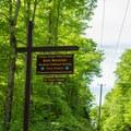 The access sign to Bald Mountain.- Bald Mountain + Rondaxe Fire Tower