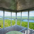 Views from the cabin of the fire tower.- Bald Mountain + Rondaxe Fire Tower