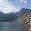 See small snowfields near Black Mountain on the south side of the lake.- Pine Creek Lake