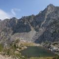 Jewel Lake beneath Pine Creek Lake.- Pine Creek Lake