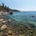 Looking south along the lakeshore.- Bonsai Rock