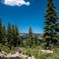 Heading back down the trail.- Volcano Lake Hike