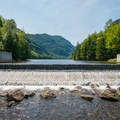 The dam impounding Lower Ausable Lake.- Rainbow Falls on the Adirondack Mountain Reserve